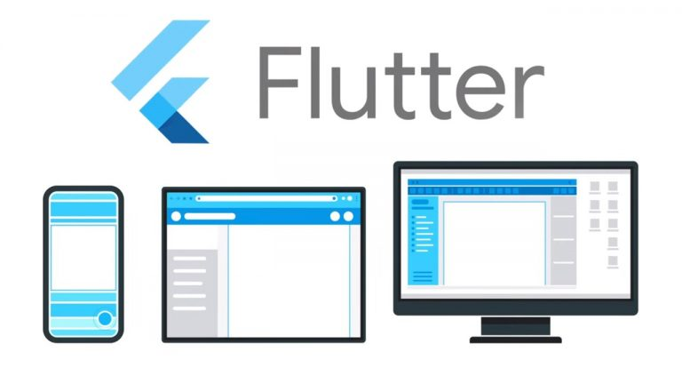 A mobile phone, tablet and monitor showing the Flutter App
