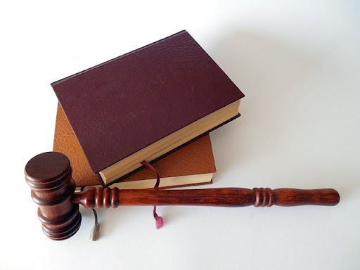 Court hammer and pair of books
